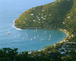 Cane Garden Bay and village. Tortola Island. The Caribbean Sea. British Virgin Islands.