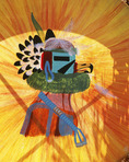 Detail of ceremonial Hopi Indian drum with eagle kachina painting. Sedona, Arizona.