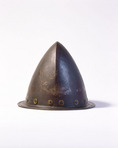 Spanish conquistador helmet [private collection]. San Antonio Missions National Historical Park. Texas.