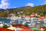 Boats in harbor at port of Gustavia, St. Barts.  Leeward Islands, Caribbean