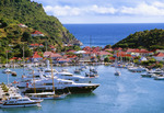 Boats in harbor at port of Gustavia, St. Barts.  Leeward Islands, Caribbean.