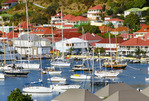 Yachts in harbor at port of Gustavia, island of St. Barts.  Leeward Islands, Caribbean