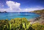 St. Barts. Anse du Colombier with boats at anchor. Marine Reserve. Access by boat or 30 minute hike only.  Island of St. Barts, Leeward Islands, Lesser Antilles, Caribbean.