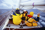 Sailing in the North Atlantic, talking on phone, in route from Newport, Rhode Island to Bermuda.  Atlantic Ocean.