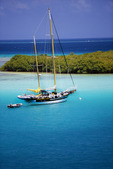Bahia Almodovar [Almodovar Bay] with sailboat at anchor, Island of Culebra, Puerto Rico, Spanish Virgin Islands, Caribbean.