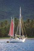 Sailboat at anchor off of Pinney's Beach.  Island of  Nevis.   Caribbean.  Country name:  St. Kitts and Nevis.