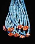 Turquoise and coral necklace.  Artist:  Ray Lovato, Santo Domingo Indian, 1998.  New Mexico.