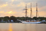 The three masted barquentine,  'Mystic', docked in the Mystic River.   Mystic, Connecticut.
