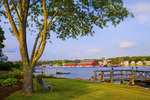 View from Pearl Street across the Mystic River to the Mystic Seaport.   Mystic, Connecticut.