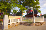 Entrance to Mystic Seaport museum, with tugboat.   Mystic, Connecticut.