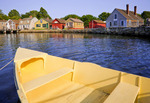 Skiff and historic shipping supply businesses at Mystic Seaport.  Mystic, Connecticut.