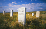 Garve markers, Capt. Myles Keogh's Company I,  killed by charge led by Lakota warrior Crazy horse, June 25, 1876, where the U.S. 7th Cavalry was defeated by Lakota, Cheyenne and Arapaho Indians.  Little Bighorn Battlefield National Monument., Montanna.