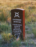Memorial marker  for the Cheyenne warrior, Lame White Man, near Last Stand Hill where the U.S.  7th Cavalry was defeated June 25, 1876 by Lakota, Cheyenne and Arapaho Indians.  Little Bighorm Battlefield National Monument, Montana.