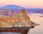 Lake Powell at dusk, Padre Bay, with Gunsight Butte, and Navajo Mountain (sacred to Navajo Indians) in the distance.  Glen Canyon National Recreation Area, Utah.