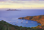 St. Barts. Anse du Colombier harbor with boats at anchor. Marine Reserve. Access by boat or 30 minute hike only. Island of St. Barts, Leeward Islands, Lesser Antilles, Caribbean.