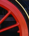Detail of driving wheel on working replica of the engine,  'Jupiter', one of two engines that met at Promentory, Utah on May 10, 1869, for the completion of the transcontinental railway.  Golden Spike National Historic Site, Utah.