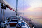 Dawn from the deck of a sailboat along the Atlantic Intracoastal Waterway, Pamlico Sound, North Carolina.