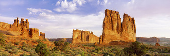 Courthouse Towers at sunrise.  Arches National Park, Utah.