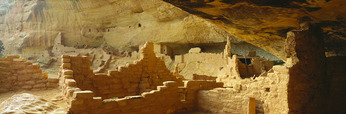 Long House, the second largest Anasazi culture cliff dwelling at Mesa Verde [w/150 rooms and 21 kivas], was occupied from about A.D. 1200-1300, by 150-175 people.  Wetherill Mesa.  Mesa Verde National Park, Colorado.
