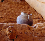 Kayenta Anasazi corrugated jar at Keet Seel cliff dwelling.  Navajo National Monument, Arizona.