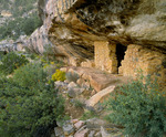 One of over 80 Sinagua culture dwellings in Walnut Canyon, occupied from A.D. 1120-A.D.1225.  Walnut Canyon National Monument, Arizona.