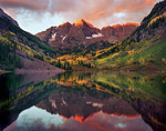 The Maroon Bells at sunrise, White River National Forest, near Aspen, Colorado
