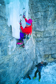 Jack Roberts starts up the Frigid Inseminator belayed by Mark Cantor, near Vail, Colorado