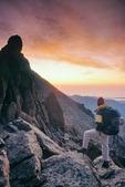 Glenn Randall atop Mt. Lady Washington at sunrise, near Estes Park, Rocky Mountain National Park, Colorado