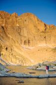 Cora Randall at Chasm Lake at sunrise, Longs Peak, near Estes Park, Rocky Mountain National Park, Colorado