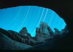 Druid Arch by moonlight with star trails, Canyonlands National Park, near Moab, Utah