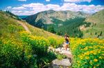 Cora Randall running the Flattop trail, Rocky Mountain National Park, near Grand Lake, Colorado