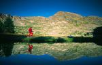 Cora Randall arriving at Haynach Lake, Rocky Mountain National Park, near Grand Lake, Colorado