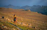Cora Randall running the Ute Trail at sunset, near Trail Ridge Road and Estes Park, Rocky Mountain National Park, Colorado