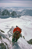 Peter Metcalf on the southeast spur of Mt. Hunter, Denali National Park, Alaska