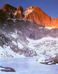 The Diamond on Longs Peak glows at sunrise, Rocky Mountain National Park, near Estes Park, Colorado