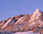 The Flatirons after a winter snowstorm as seen from Chautauqua, near Boulder, Colorado