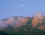 Moonset over the Flatirons, near Boulder, Colorado