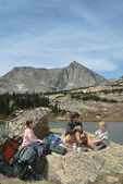 Emily, Cora & Audrey Randall picnicking at Lion Lake, Wild Basin, Rocky Mountain National Park, near Estes Park, Colorado