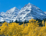 The Maroon Bells in autumn after a major snowstorm, Maroon Bells-Snowmass Wilderness, near Aspen, Colorado