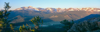 The Rocky Mountain National Park skyline from Deer Mountain at sunrise, near Estes Park, Colorado