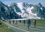 Participants in Ride the Rockies (a large, organized bicycle tour) on Trail Ridge Road, Rocky Mountain National Park, near Estes Park and Grand Lake, Colorado