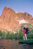 Cora Randall at Lake Helene, below Notchtop, Rocky Mountain National Park, near Estes Park, Colorado