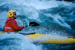 Jean Marie Gilliot surfing in President Harding Rapid, mile 44, Marble Canyon, Arizona