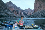 Gary Bernstein dishes up breakfast, mile 44, Marble Canyon, Arizona