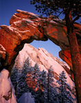 The Flatirons seen through Royal Arch at sunrise, Green Mountain, Boulder Mountain Parks, near Boulder, Colorado