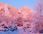 The Flatirons at sunrise on a zero-degree morning, near Boulder Colorado