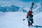 Chris Melle carrying a load at 15,000 feet, West Buttress, Mt. McKinley, Denali National Park, Alaska