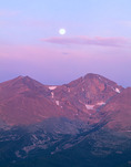 Moonset over Longs Peak & Mt. Meeker from the summit of Twin Sisters, Rocky Mountain National Park, Colorado