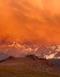 Stormy sunset over Longs Peak from the Ute Trail along Trail Ridge, Rocky Mountain National Park, Colorado