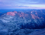 McHenrys & Taylor Peaks from the summit of Longs Peak at sunrise, Rocky Mountain National Park, Colorado.